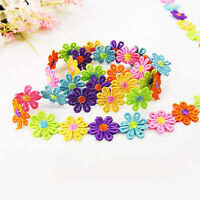 1yard 25mm Embroidered Lace Flower Trim Ribbon for Wedding DIY Sewing Colorful