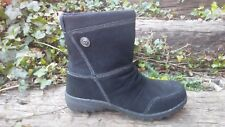 Womens Khombu Insulated Black Ankle Boots Leather Shoes Size 7 / 38