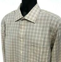 Pronto Uomo Shirt Mens Size XL Beige Checked Button Front Long Sleeve Non Iron