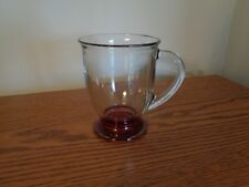 Anchor Hocking Large Glass Red Base Coffee Mug/Cup