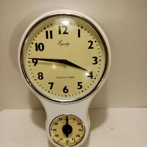 """LOOK  Home Retro Vtg 12x7.5"""" Kitchen Time Wall Clock with 60 Minutes Timer Decor"""