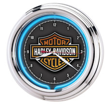 Harley-Davidson? Essential Bar & Shield Neon Clock Motorcycle Decor Wall Harley