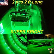 "2x 2' (24"") Green LED Boat Deck Light Waterproof Bow Trailer Fishing Pontoon 12v"
