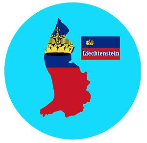 LIECHTENSTEIN - MAP / FLAG - ROUND SOUVENIR FRIDGE MAGNET - NEW - LITTLE GIFTS