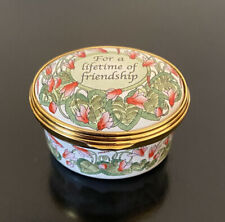 Halcyon Days Enamels Oval Trinket Box For A Lifetime Of Friendship