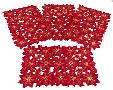 "Flor de Navidad Collection Red Embroidered Cutout Poinsettias 12x18"" Set of 4"