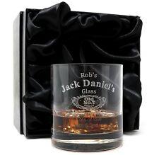 More details for personalised/engraved jack daniels glass tumbler in silk gift box dad/grandad