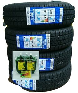 4 X 155 70 12 trailer tyres 104/102N  Drivesafe Tyre Sealant puncture protection