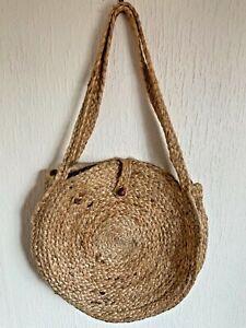 Vintage Bohemian Woven Straw Round Circle Hand Bag Shopper Summer Boho Large