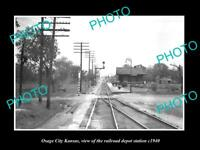 OLD LARGE HISTORIC PHOTO OF OSAGE CITY KANSAS, THE RAILROAD DEPOT STATION c1940
