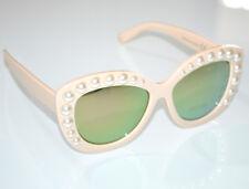 Gafas de sol mujer BEIGE perlas lentes verdes óculos de sol sunglasses G10