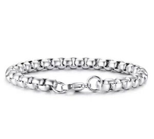 Mens Stainless Steel Bracelets Gents Silver Jewellery Bangle Punk Fashion Chain
