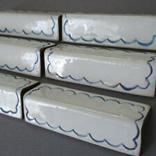 Set 6 Antique FRENCH Enamel on Copper Graniteware Place Card Markers * Scallops