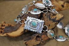 "Sterling Silver Turquoise 35"" Concho Belt"