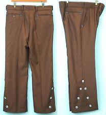 VTG Unique MENS polyester Button sides Spanish Dance pants sz 38 brown