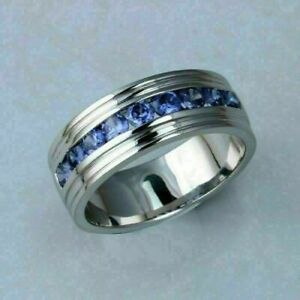 14K White Gold Fn 1Ct Round Cut Blue Sapphire Wedding Engagement Men's Band Ring