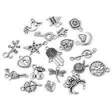 100 Mix Antik Silber Charms Anhänger Motiv für Halskette Armband Konvolut #1
