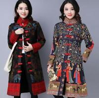Womens Chinese Cotton-padded Warm Winter Parka Mid Long Outdoor Coat Floral 2019