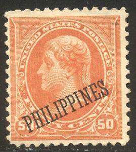 PHILIPPINES #219 Unused - 1899 50c Orange ($125)