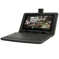 NEW BLACK MICRO USB LEATHER LOOK KEYBOARD CASE FOR ANDROID 7 INCH TABLET PC's