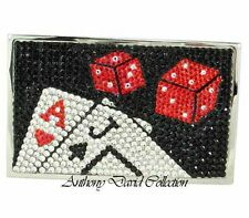 Red & Black Crystal Business Card Case Holder  - Las Vegas Poker Cards & Dice