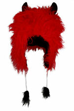 Red devil hood with horns faux fur