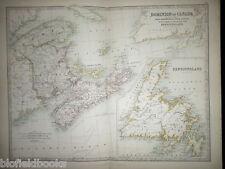 Antiquarian Map c1880 of Canada & Newfoundland, Nova Scotia, New Brunswick
