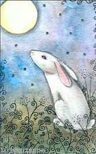LARGE  FANTASY STARLIGHT WHITE HARE WITH MOON PAINTING PRINT BY SUZANNE LE GOOD