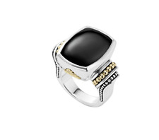 Lagos Caviar Onyx Ring Sterling Silver 18k Gold New $1,250