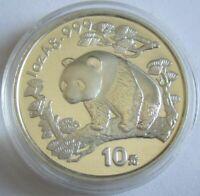 China 10 Yuan 1997 Panda Shanghai Mint (Kleines Datum) 1 Oz Silber