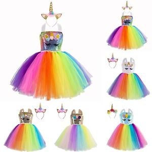 Rainbow Flower Girls Unicorn Party Tutu Fancy Dress Costume Headband Outfit UK