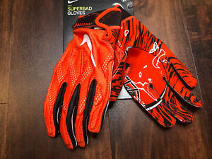 New Mens Nike Cleveland Browns Superbad Football Gloves Size 3XL Orange Brown