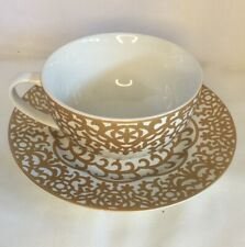 222 Fifth Large Tea/Coffee Cup And Saucer  Gold & White
