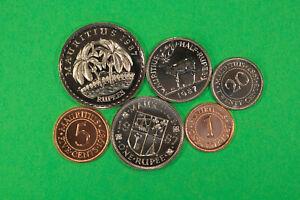 Mauritius Set 1 Cent bis 5 Rupees 1987 - 6 Stück alle Proof