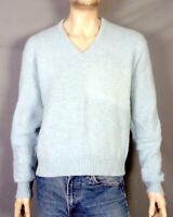 vtg 70s Jantzen Light Blue 100% Wool V-Neck Sweater Pullover Indie Mod L