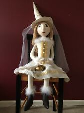 "OOAK Fantasy Art Doll White Witch Bride Large 4'8"" Tall"