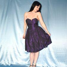Herz-Ausschnitt im COCKTAILKLEID* S Satin lila Partykleid* Abendkleid Minikleid