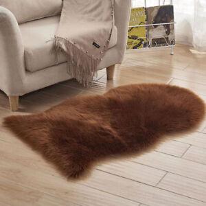 Fluffy Faux Fur Sheepskin Floor Rug Carpets Home Room Circle Small Irregular Mat