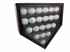 Solid Wood 21 Baseball Display Case Wall Cabinet Holder Shadow Box, w/UV Protect