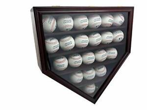 Solid Wood 21 Baseball Display Case Wall Cabinet Holder Shadow Box, w/UV Protect