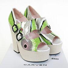 CARVEN $650 double monk strap patent leather Kiwi platform wedge shoes 40/10 NEW
