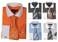 Men's Cotton Polka Dot Dress Shirt Set #613 Contrast Spread Collar French Cuff