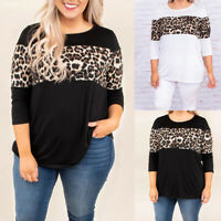 Plus Size Women Long Sleeve Leopard Oversized T-shirt Ladies Blouse Loose Tops