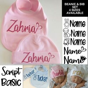 Baby Beanie Baby Bib SET Personalised baby Bib shower gift hat hospital PINK