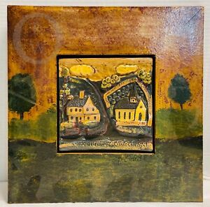 """*Eldreth*Redware* Red Ware*Framed Tile*Picture*13"""" x 13""""*  21097P S139"""