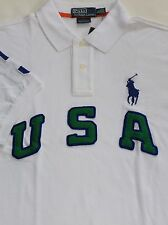 New $125 Polo Ralph Lauren Custom Fit White Big Pony USA Mesh Polo Shirt / XL