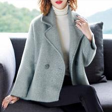 Women's Winter Lapel Short Wool Blend Coat Outwear Loose Casual Trench Overcoat