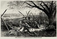 SIOUX INDIANS Indian AMBUSH PLAINS SETTLERS, FEATHERS, RIFLE SCABBARD 1868 PRINT