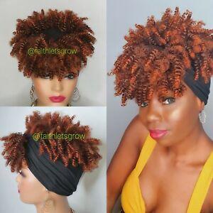 Headband Wig 2-1 Turban Wig, Afro Kinky Curly Hair  Wrap Hair High Puff