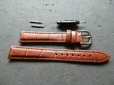 Mens Genuine Leather Watch Strap Band with Tools 16 mm brown with tools and bars